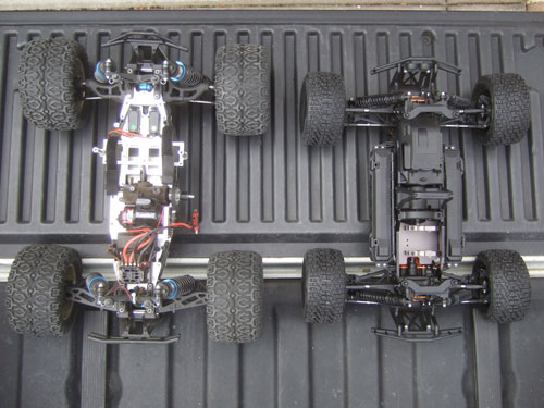 HPI Savage Flux HP Next to a Brushless LST