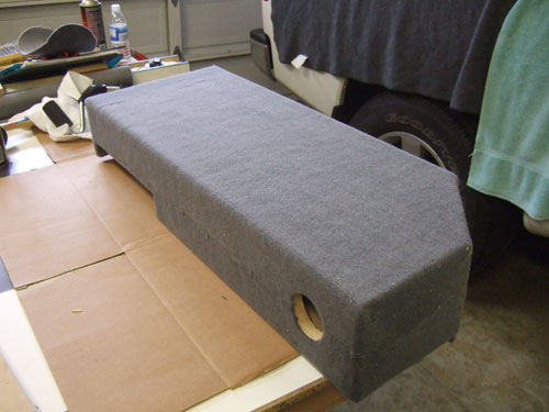 Custom subwoofer enclosure - back view with carpet